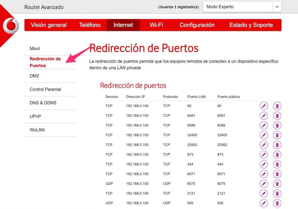 Cómo abrir puertos en el router de Vodafone