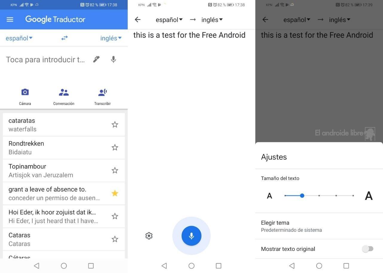 Transcripción de voz Traductor de Google