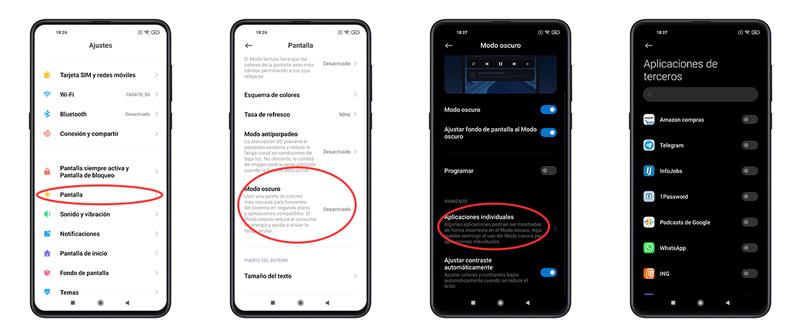 7 trucos ocultos de MIUI 12 que debes probar en tu móvil Xiaomi modo oscuro apps