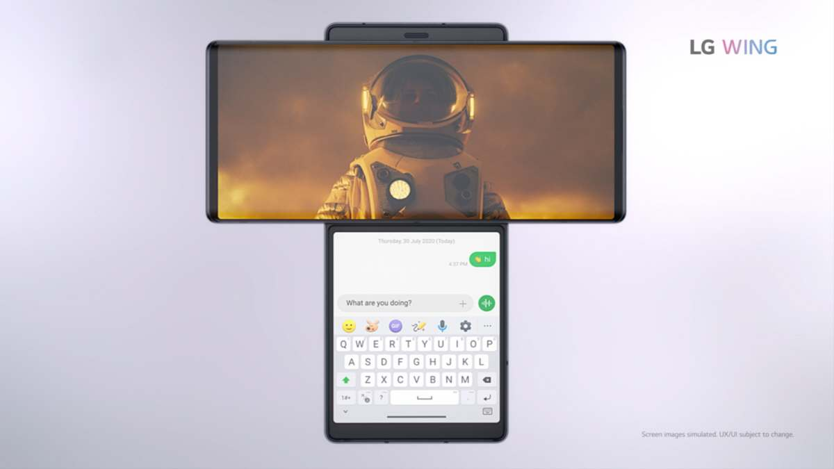 El nuevo LG Wing tiene dos pantallas y una de ellas gira