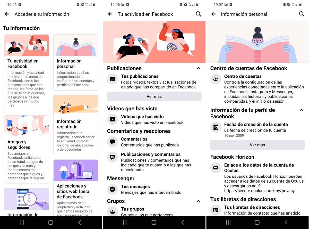 Facebook nueva interfaz datos personales