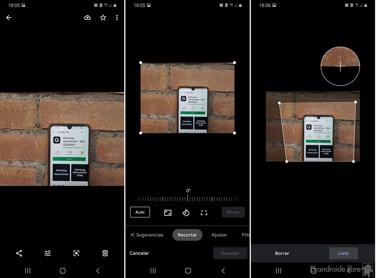 Google Fotos editar perspectiva
