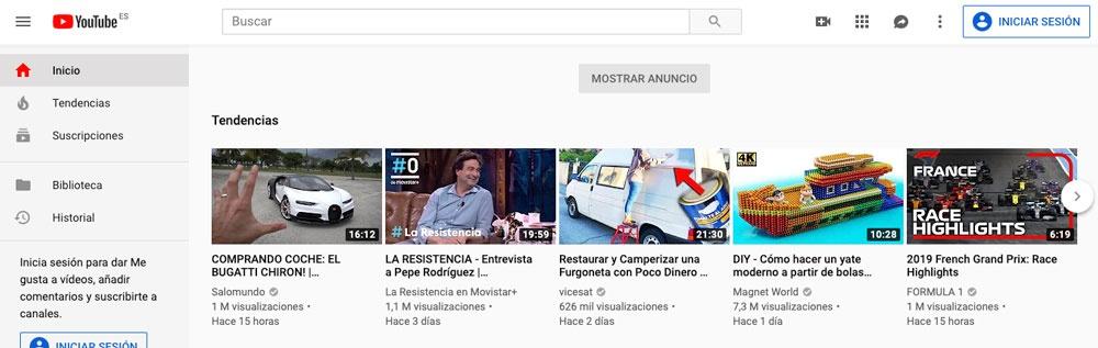 Página principal del buscador de Youtube