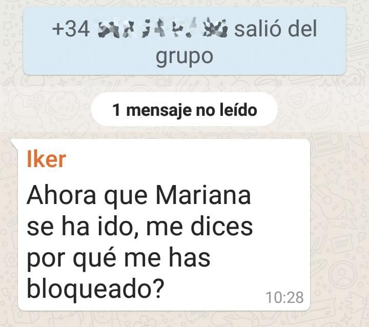 mensaje a contacto bloqueado sin el administrador del grupo de whatsapp