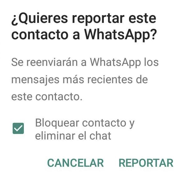 reportar contacto en whatsapp